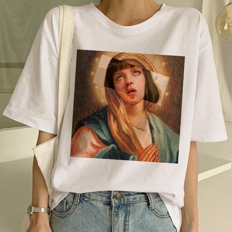 Pulp Fiction Movie Funny Print T Shirt Women Mia Harajuku Ulzzang Summer T-shirt Fashion Virgin Mary Mia Tshirt Top Tees Female