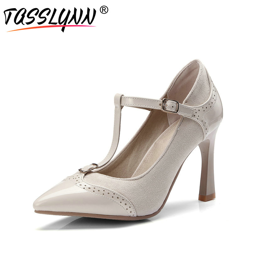 TASSLYNN 2018 Vintage Style T Strap Woman Pumps PU Scrub Apricot Wedding  Pointed Toe Thin High Heels Women s Shoes Size 34 43-in Women s Pumps from Shoes  on ... 7c168dc6def6