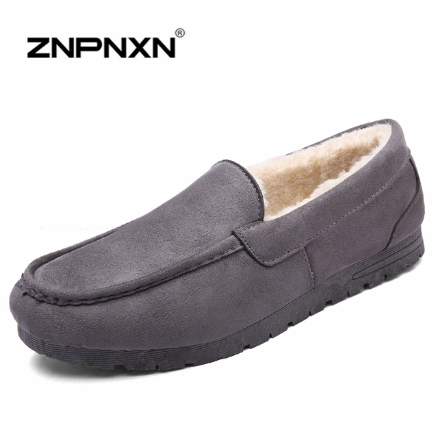 New Winter Men Loafers Women Flats Shoes Man Winter Moccasin Warm Snow Shoes Flock Soft Sapato