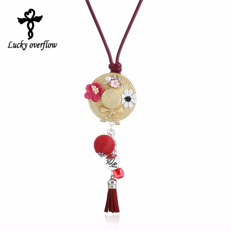 2018 New High Quality Sweat Flower Tassel Noble Necklaces For Girls Handmade Imitation Long Necklace Hats Pendant For Women Gift