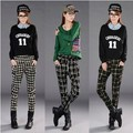 England Fashion Women 's Vintage Casual Plaid Pants Elastic Waist Harem Long Pants Female Retro Lattice Check Trousers