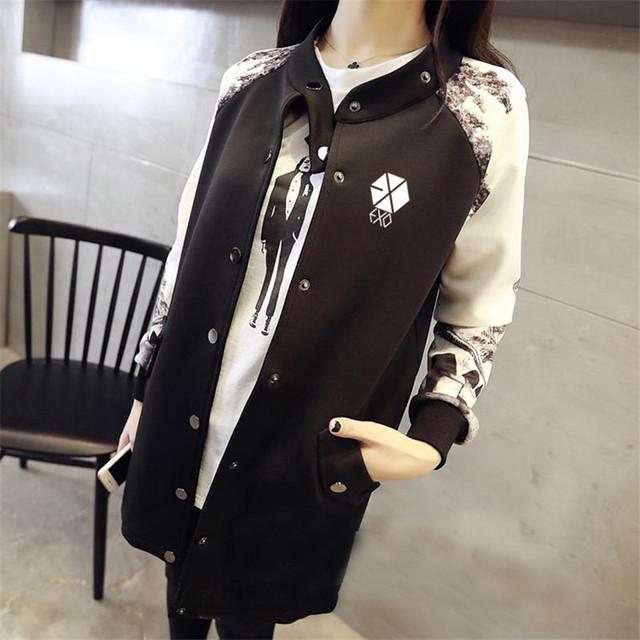 Jaqueta de Beisebol KPOP EXO Longo-sleeved 2016 k-pop exo alunos deve ajudar no início do outono uniforme de beisebol EXO roupas