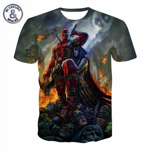 7d05c686f New American Roupas Comic Marvel Herói Deadpool T-Shirt Os Vingadores  Thanos Badass Streetwear Mulher