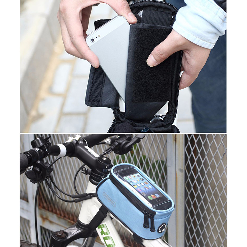 Bicycle Bags Front Case Cycling 5 5 in Phone Holder Bike Frame Pannier Transparent Mobile phone Pocket Pouch Moutain Bike Bag in Bicycle Bags Panniers from Sports Entertainment