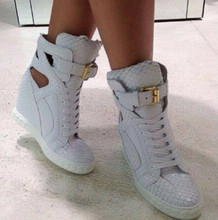 купить Fashion White Python Leather Ladies Lace Up High Tops Ankle Buckle Women Sexy Wedge Sneakers Cut Out Style Casual Shoes Size 41 дешево
