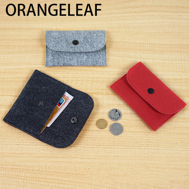 2019 1PC Thin Wallet Solid Square Felt Mini Coin Purse Small Bag Mini Wallet Girl Change Purse Bag Business Card Holder
