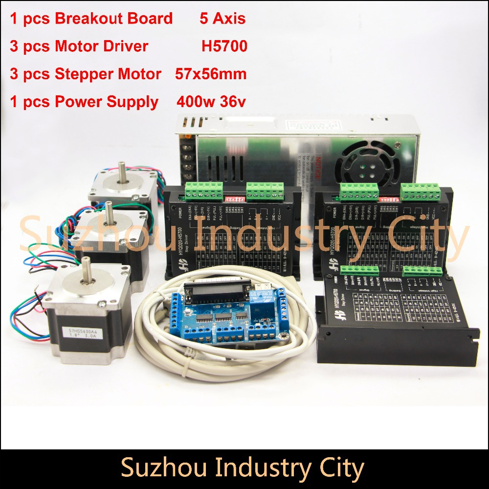 3Axis CNC stepper motor control kits name23 stepping motor + Driver 9-42VDC,4A+Power supply switch 400w 36v+5axis breakout board