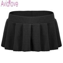 Avidlove Marca Atractiva de Las Mujeres Mini Faldas Casual Sólido Plisado Micro falda Atractiva Del Verano Las Faldas Cortas Negro Blanco Rosa Azul Más tamaño