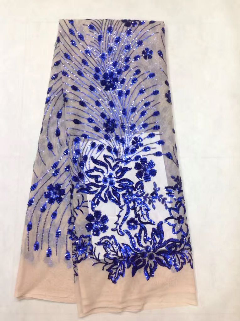 French Net Lace Fabric 2017 Latest african guipure lace fabric with embroidery mesh tulle blue cord Sequins lace fabric FL1807