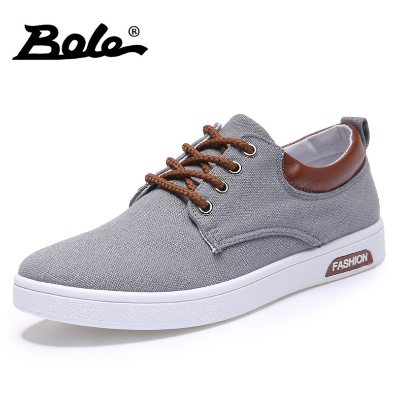 BOLE Men Canvas Casual Shoes Fashion New Design 2018 Spring Summer Breathable Men Casual Shoes Lace Up Men Slipony Shoes simple men s casual shoes with white and lace up design page 5