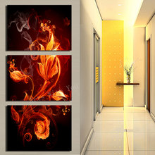 Framed 3 Piece picture Abstract Flower Modern Home Wall Decor painting Canvas Art HD Print Painting for living room(China)