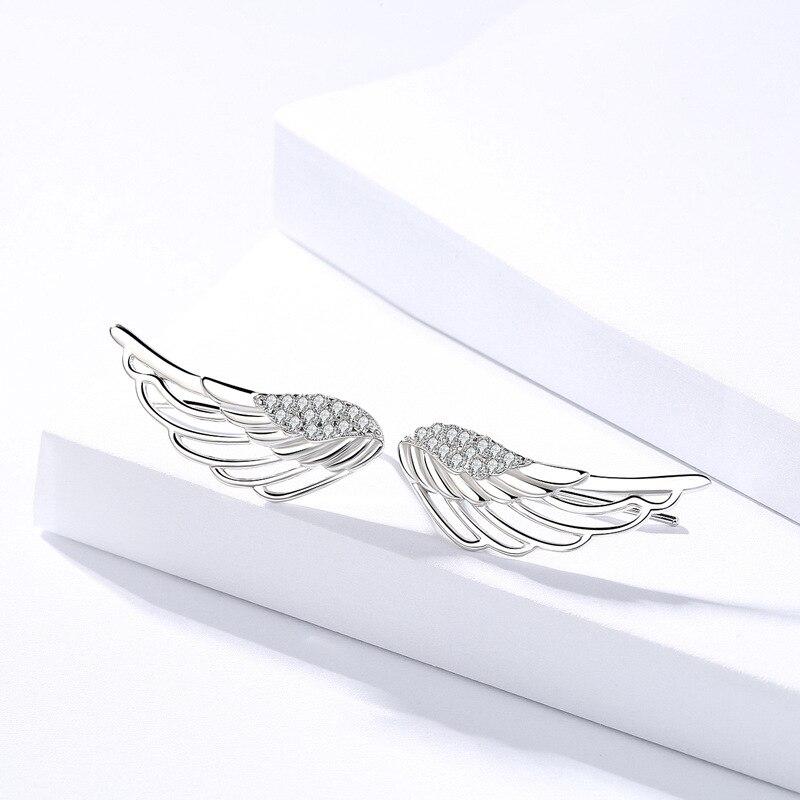 925 Sterling Silver Fashion Angel Wing Stud Earrings