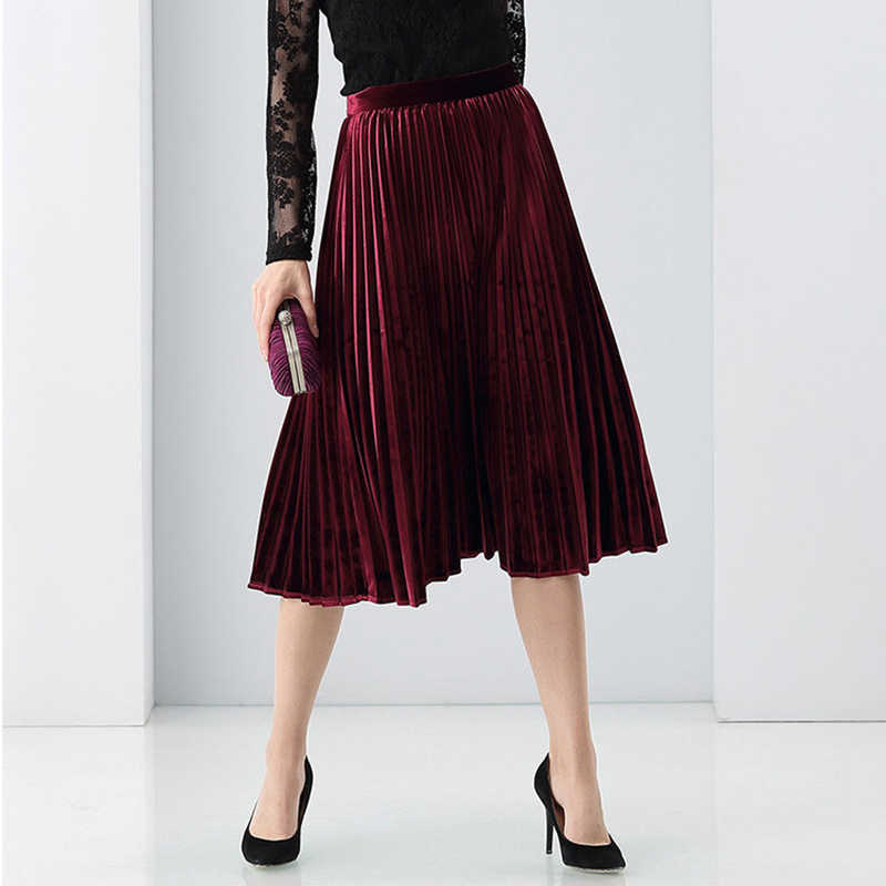 9e33f5617b Velvet Pleated Skirt Women 95% Cotton Blended Fabric Elegant Style Classic  Design 3 Colors High