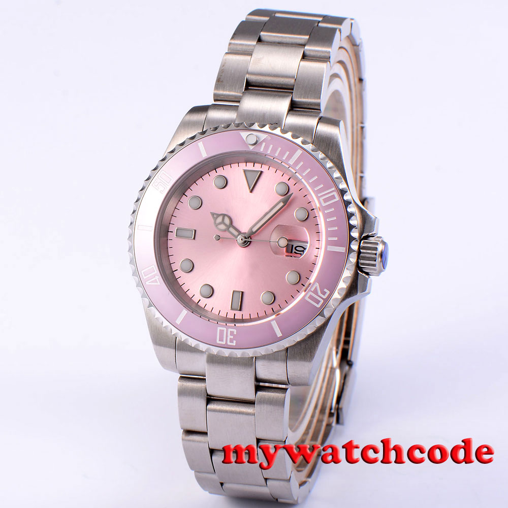40mm bliger pink sterile dial ceramic bezel sapphire glass automatic mens watch цена и фото