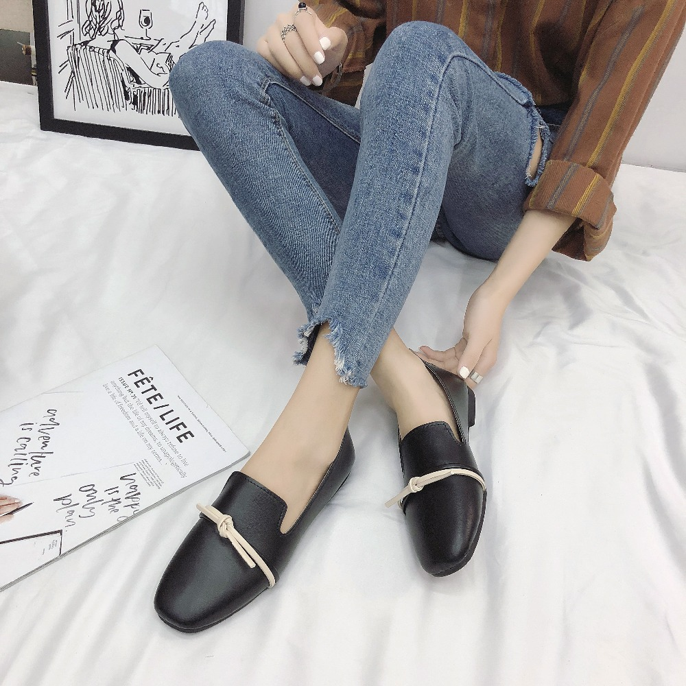 2018 new women leather shoes woman single shoes shallow round tow spring autumn ballet flats shoes women casual shoes Women Soft Leather Ballet Flats Casual Shoes Spring Autumn Round Toe Slip on Flats Female Loafers Ballerina Flats Women Shallow
