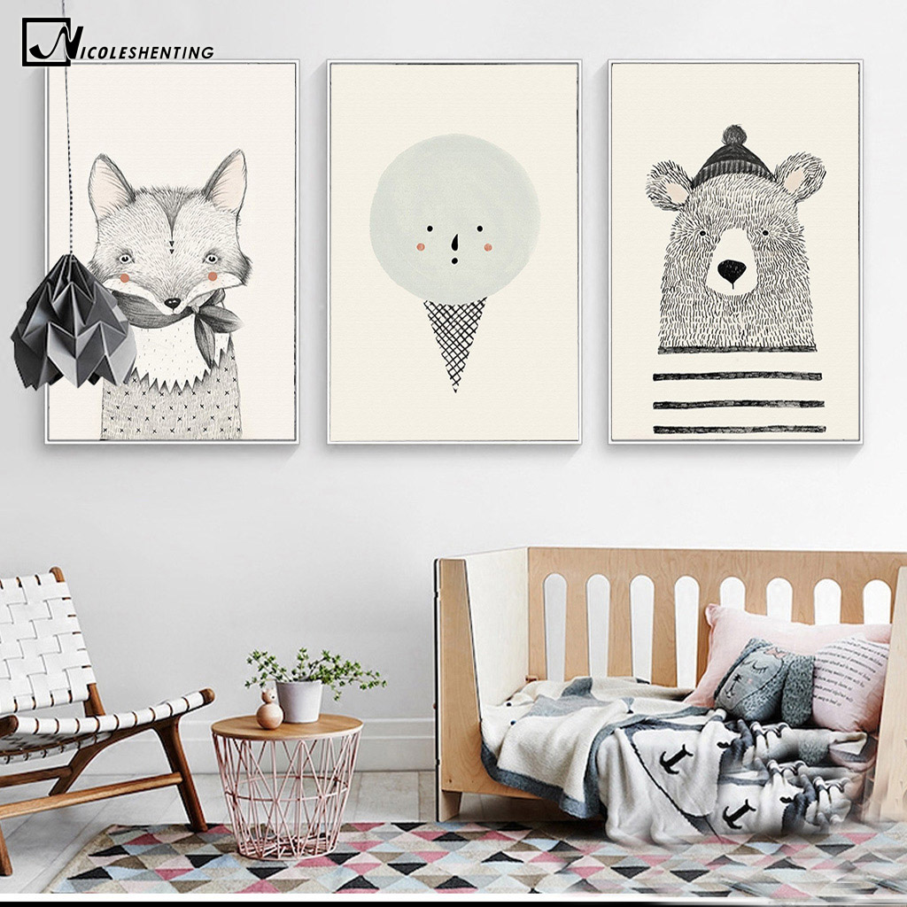NICOLESHENTING Nordic Art Bear Fox Canvas Poster Painting Cartoon Animal Wall Picture Print Children Baby Room Decoration 3