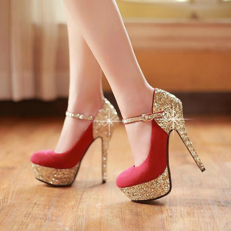 ФОТО Sexy Nightclub High Heel Shoes Sparkling Stiletto Heel Evening Party Prom Shoes Lady Fashion Shoes