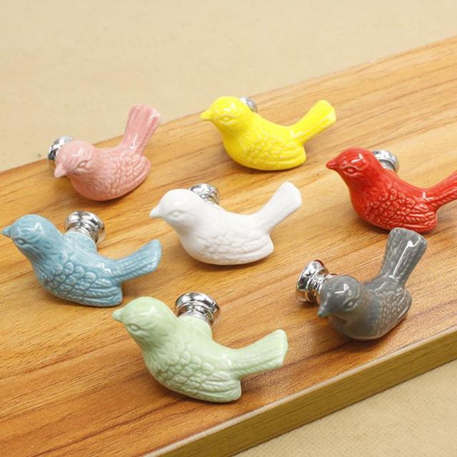 Cute Birds Ceramic Knobs Dresser Knob Drawer Pulls Handles Cupboard Pulls  Knob Pink Green Kids Cabinet