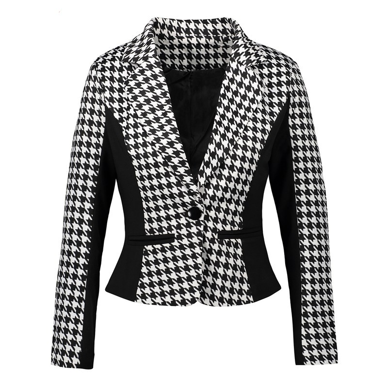2019 Fashion Women Suits Autumn Plus Size 3XL Office Work Wears Slim Black White Houndstooth Blazer And Cardigans Ladies Jackets