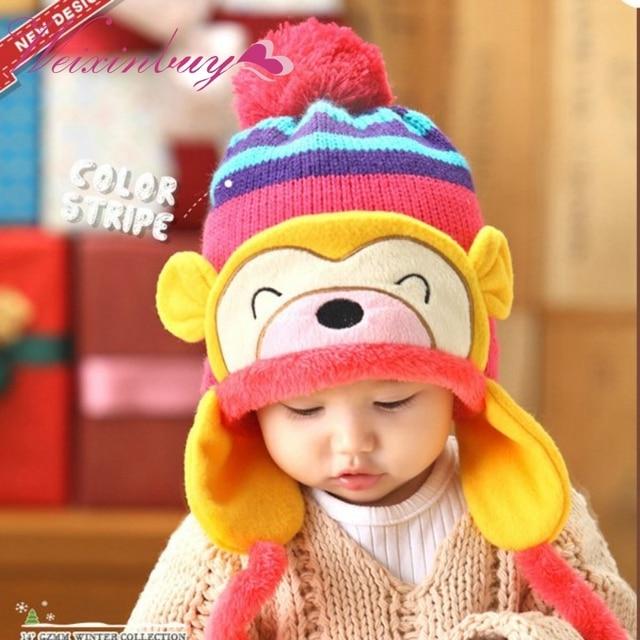Cartoon Monkey Pattern Cute Kids Baby Crochet Beanie Earflap Hat Cap ...