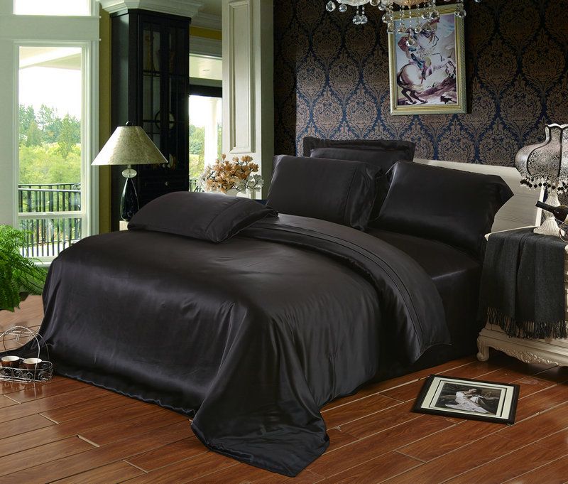 100% Mulberry Silk 19 Mm Seamless King Queen Size Gray Black Wine Red  Colors Flat Sheet Duvet Cover 4 Pieces Set Customize MS01 In Bedding Sets  From Home ...