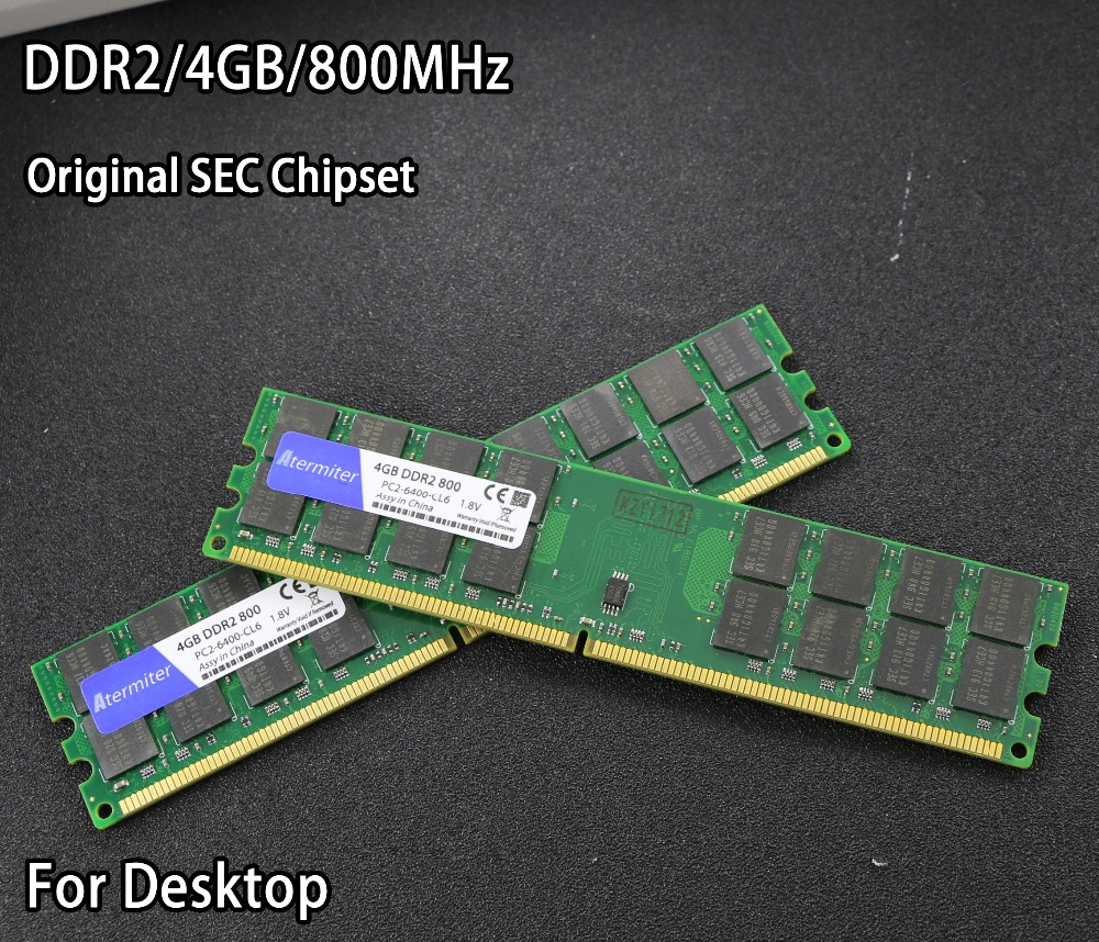 New 4GB 4G DDR2 PC2-6400 800MHz For Desktop PC DIMM Memory RAM 240 pins For AMD System High Compatible SEC Chipset