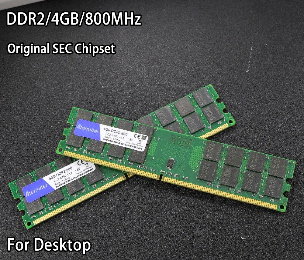 Nuovo 4 gb 4g DDR2 PC2-6400 800 mhz Per Desktop PC DIMM di Memoria RAM 240 pin Per AMD Sistema alta Compatibile SEC Chipset