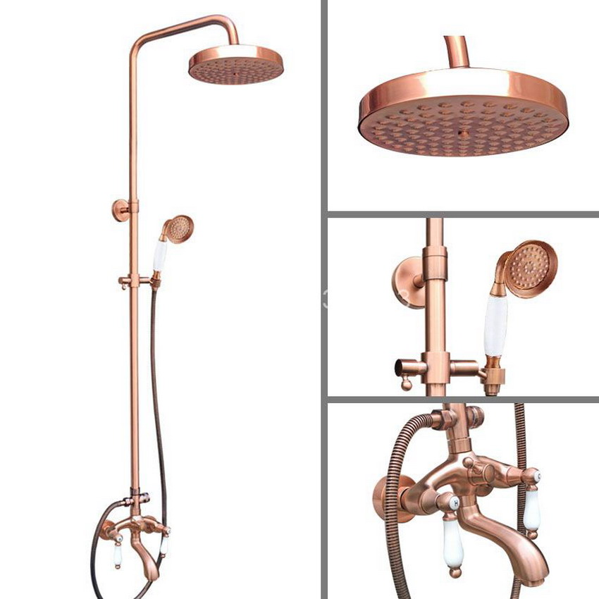 Antique Red Copper Wall Mounted Waterfall Bathroom 7.7 inch Round Rain Shower Faucet Set Dual Ceramic Handle Tub Tap arg565