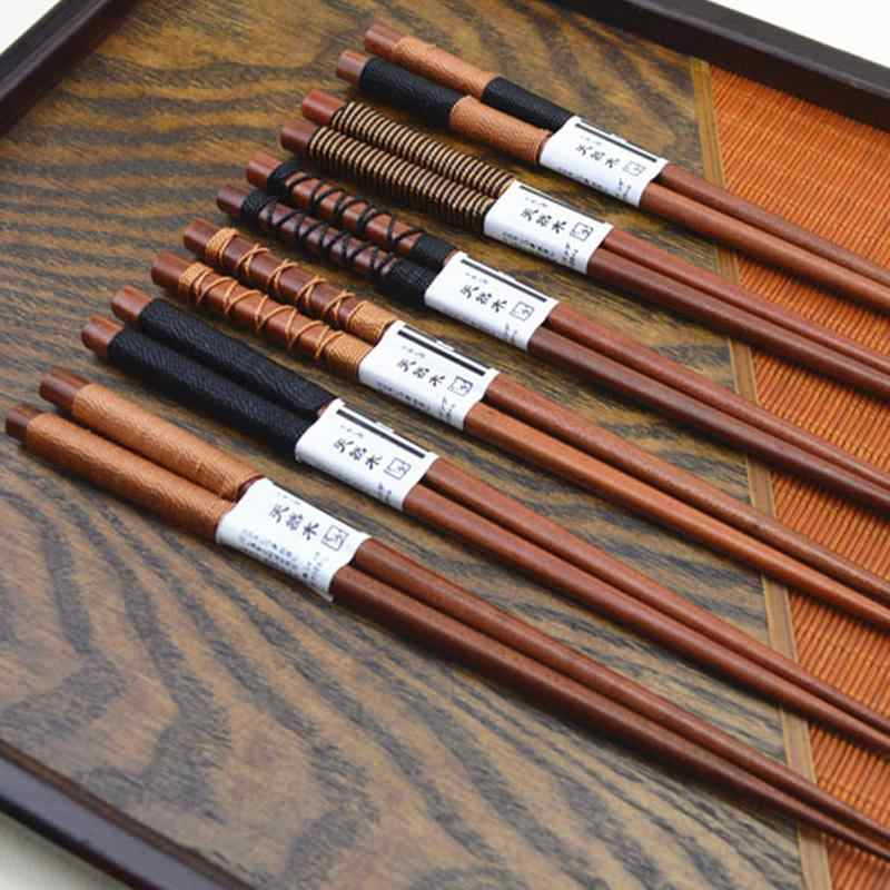 Baguettes en bois naturel faites à la main   De style japonais, japon/chine baguettes à manger, baguettes avec cordon, nouvelle vente ronde