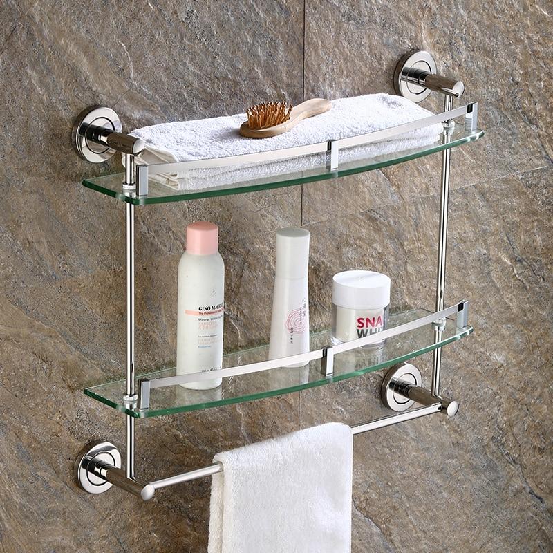 Sus304 Stainless Steel Bathroom Accessories Towel Rack Wall Holder Silver Smooth Mirror Corner Rack Glass Bathroom ShelfSus304 Stainless Steel Bathroom Accessories Towel Rack Wall Holder Silver Smooth Mirror Corner Rack Glass Bathroom Shelf