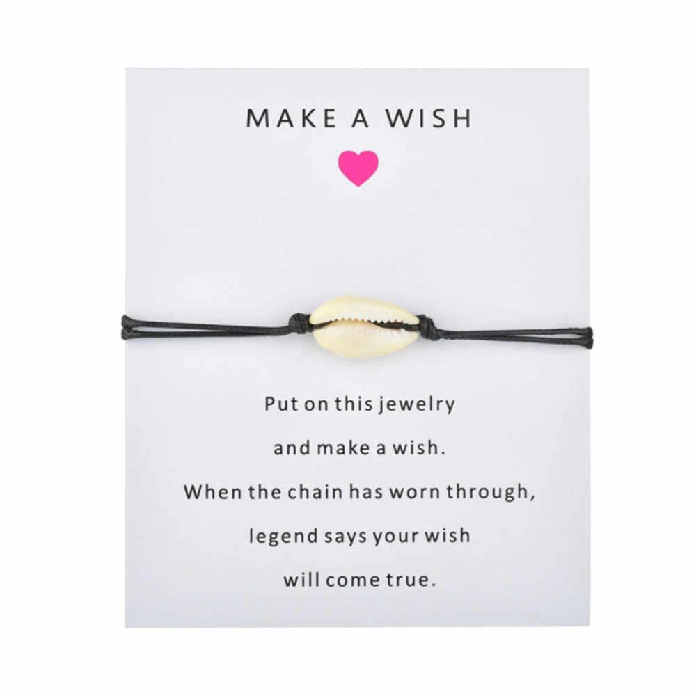 ใหม่ล่าสุดธรรมชาติเชลล์ Charm สร้อยข้อมือ Kraft กระดาษ Wish การ์ดของขวัญแฮนด์เมดสีแดงสร้อยข้อมือผู้หญิงผู้ชายเครื่องประดับของขวัญ