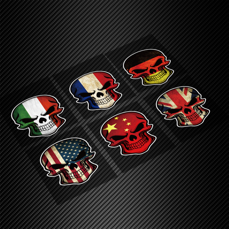 Skull flag car sticker France German Italy US UK China Flag for choose Creative Sticker Fuel cap Pirate Gangster sticker