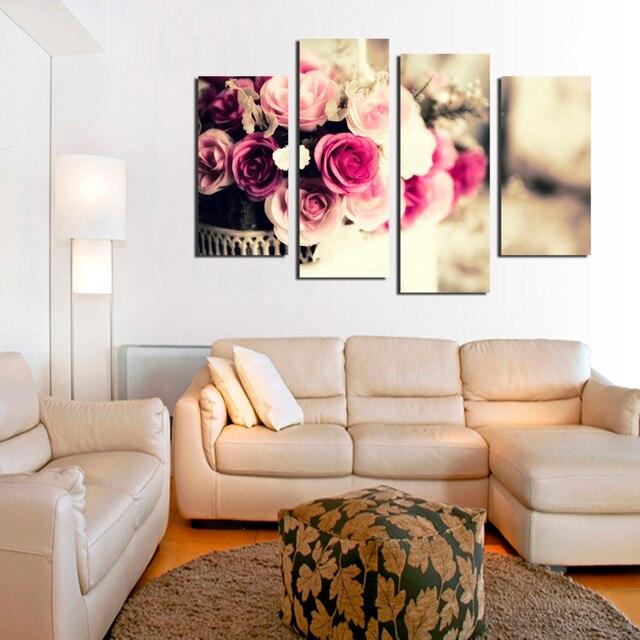 4 Stuck Wandkunst Moderne Acryl Blume Bunte Rosen Olgemalde Auf