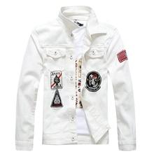 White Denim Jacket Men Hip Hop Bomber Military Jeans Jacket Mens Slim Fit Appliques 2019 Spring Autumn Coat for Men J035
