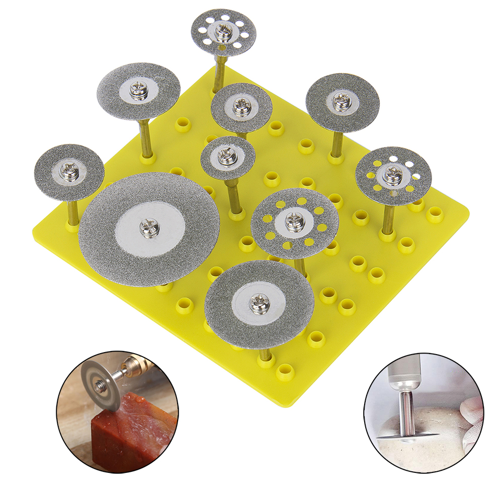 Hakkin 10Pcs 1/8 Inch Shank Sharp Diamond Saw Blade Cutting Discs Wheel Rotary Tool Set Grinding Wheel With Mandrel Drill Bit