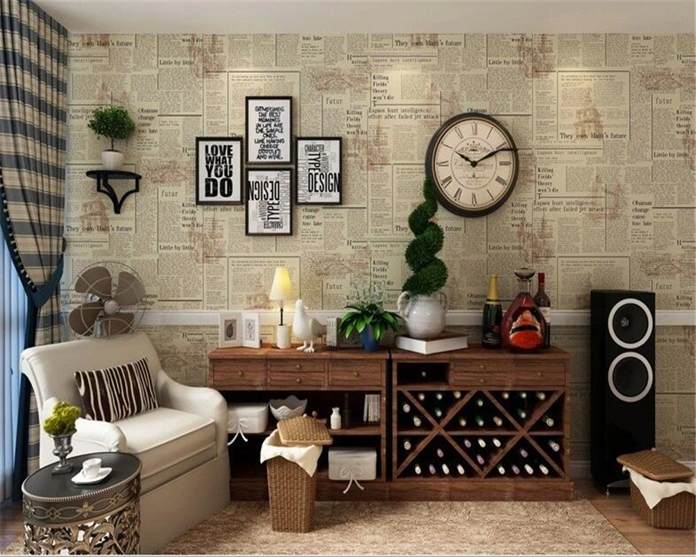 beibehang American Vintage Old Newspaper PVC Wallpaper Nostalgic English Alphabet Bar Cafe Features Full Shop Wallpaper 3D beibehang do the old newspaper paper english newspaper news pvc wallpaper library coffee shop restaurant background wallpaper