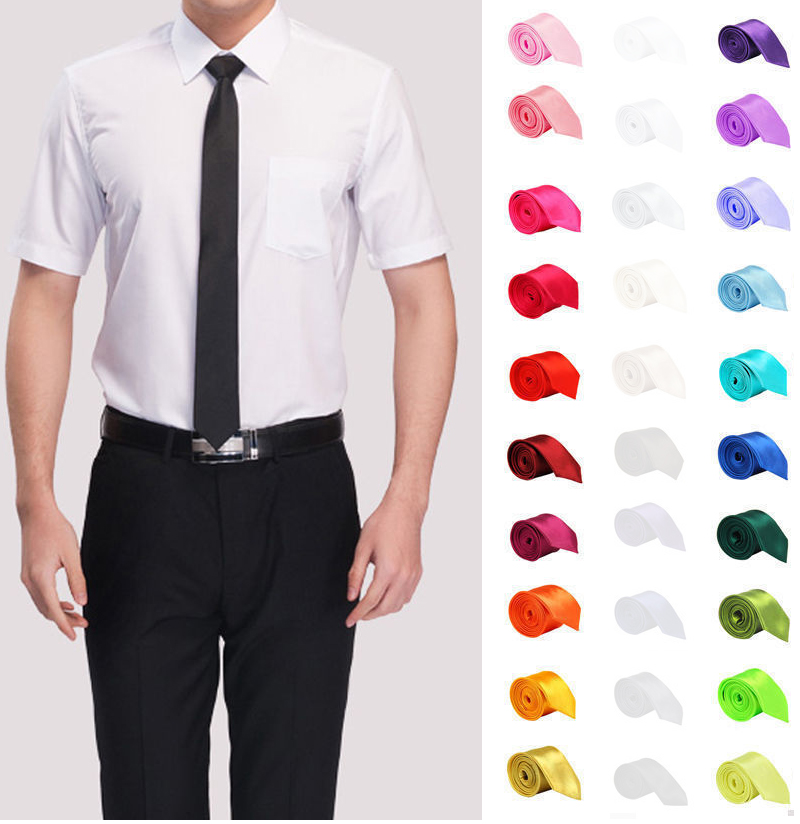 Tie For Men Slim Solid Color Necktie Polyester Narrow Cravat 5cm Width 35 Colors Ties