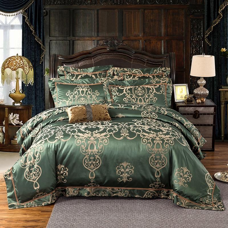No 1 10 Army Green Gold White Blue Jacquard Silk Bedding Set Luxury 4 6pcs Satin