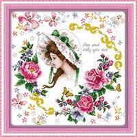 Joy Domingo figura estilo Tú eres mi único estampado de punto de cruz kits de bordado pintura de la mano hacer artesanía pintura bordado
