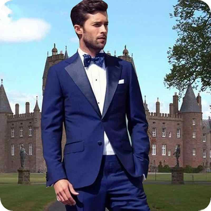 カスタムメイドブルースーツ新郎の結婚式のためタキシード男性スーツの男ブレザー喫煙 2 夜の付添人のスーツ (ジャケット + パンツ)