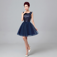 2017 New Arrival Elegant Blue Short Prom Dress For Women Ball Gown Lace Up Within Sequins