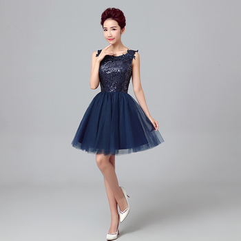 2017 new arrival elegant blue short prom dress for women ball gown lace up within sequins.jpg 350x350