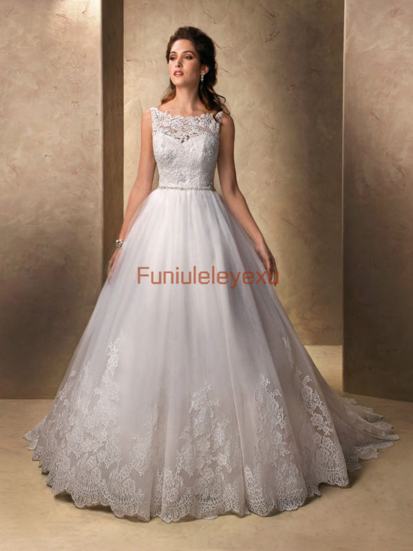 A Line Boat Neck Sleeveless Sweep Train Bridal Gowns White Ivory Lace Wedding Dress Size 2 4 6 8 10 12 14 16 In Dresses From Weddings Events On
