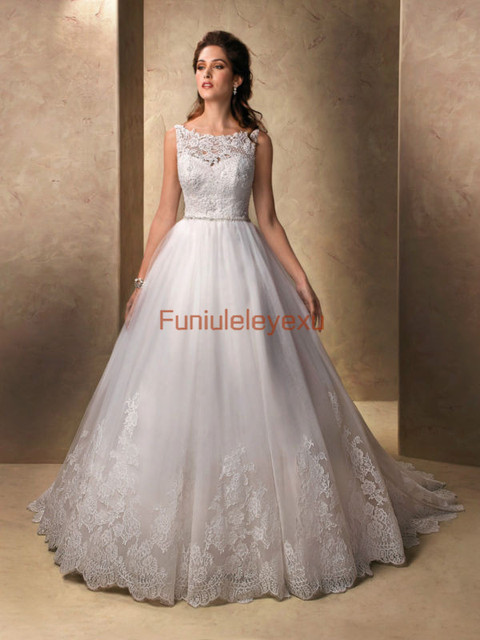 df1ebdf8e30 A Line Boat Neck Sleeveless Sweep Train Bridal Gowns White Ivory Lace  Wedding Dress Size 2 4 6 8 10 12 14 16