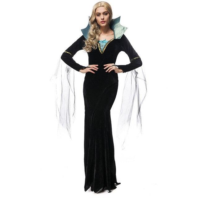Costumi Halloween Adulti.Us 26 59 5 Di Sconto Umorden Purim Partito Costumi Di Halloween Per Adulti Donna Deluxe Queen Costume Da Vampiro Cosplay Nero Vestito Lungo Per Le