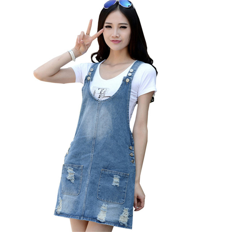4987394053def Brand Summer Dress Nice Women Denim Sundresses Casual Fashion Cotton  Multi-pocket Strap Dresses Plus Size Blue Dress For Woman