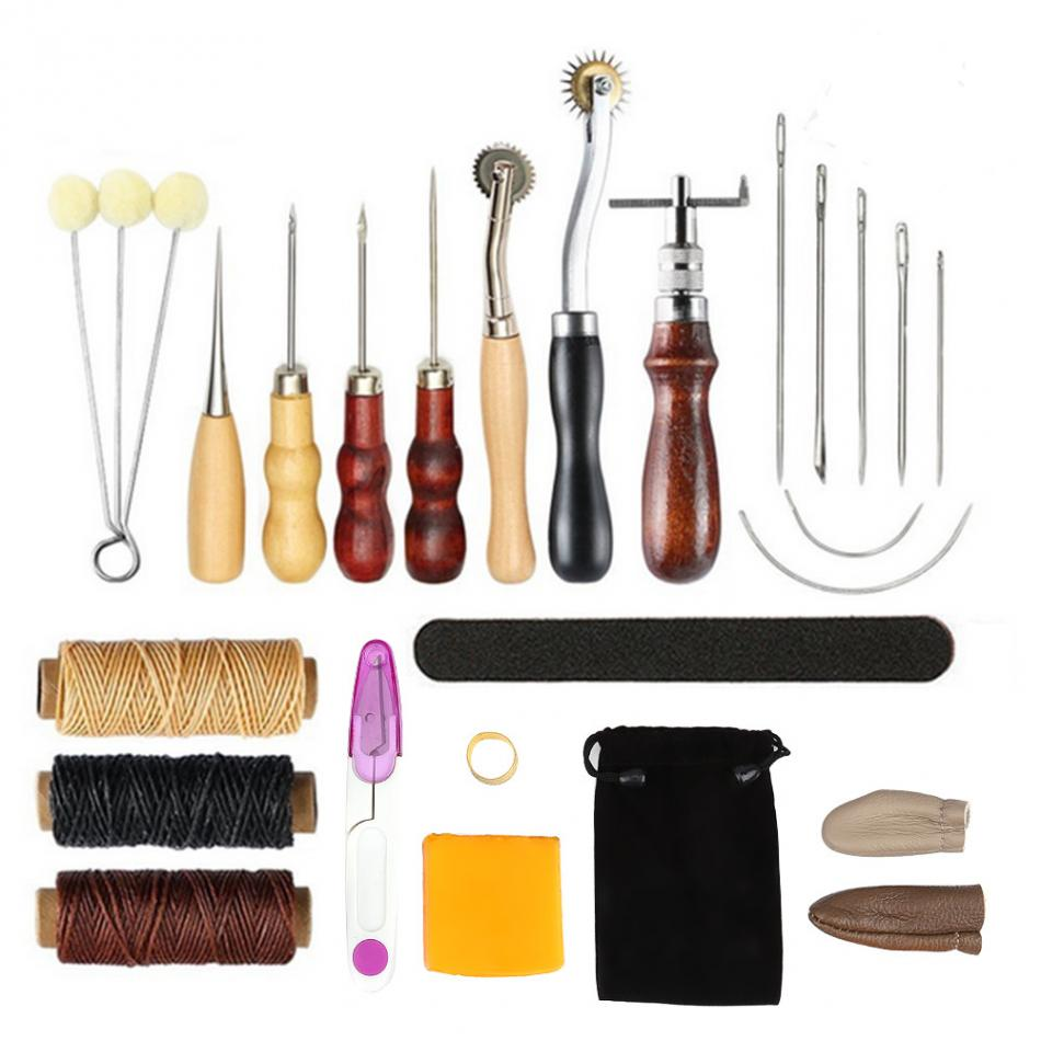 17 Pcs Leather Tools DIY Hand Stitching Kit With Groover Awl Waxed Thimble Thread For Sewing