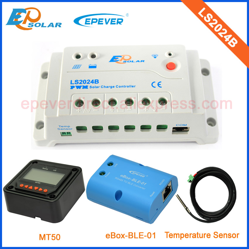 Battery charging regulators LS2024B 12v 24v with MT50 remote meter 20A 20amp and bluetooth function+temperature sensor 20a 12 24v solar regulator with remote meter for duo battery charging
