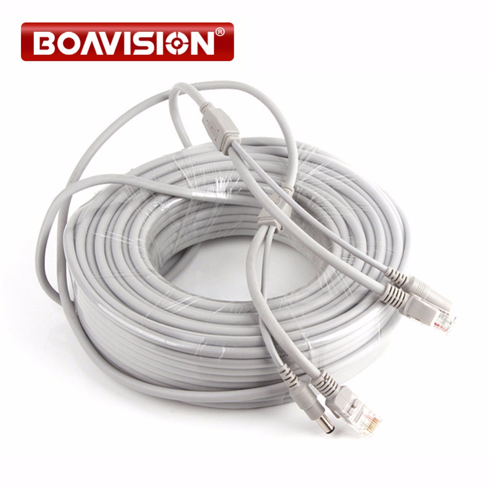 CAT5/CAT-5e CCTV Network Lan Cable 132ft/40M Ethernet Cable RJ45+DC Power For NVR Network Video Recorder System IP Camera Gray dhl free shipping in stock new arrival english version ds 2cd2142fwd iws 4mp wdr fixed dome with wifi network camera