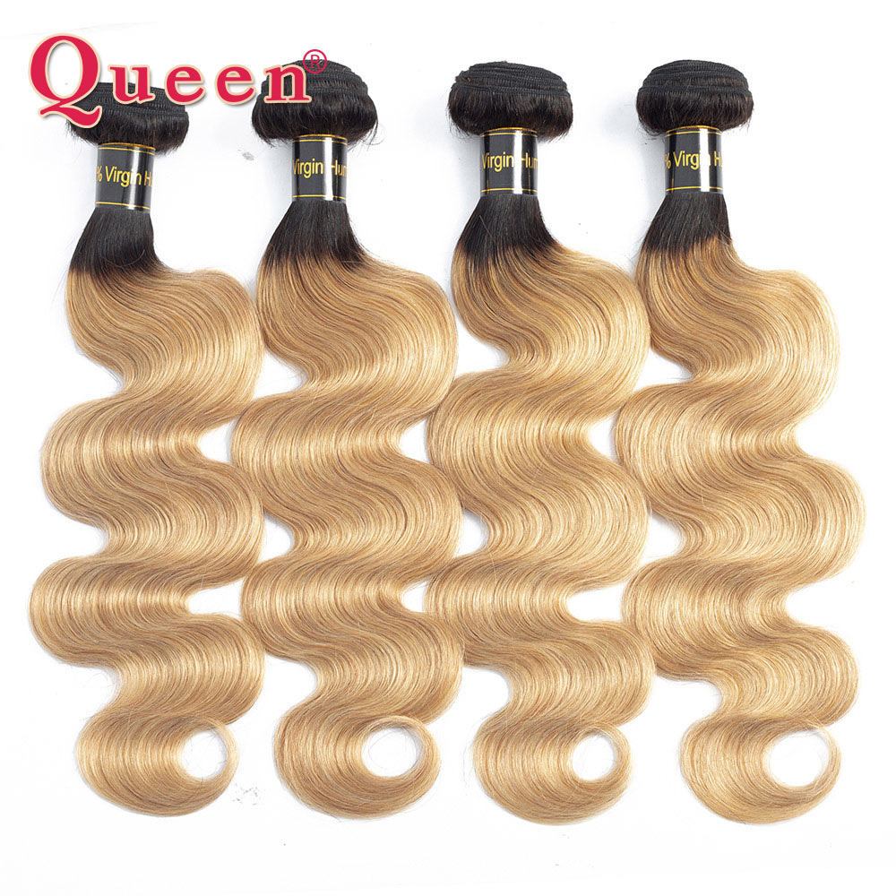 Queen Hair Products Brazilian Body Wave Human Hair Blonde Ombre Hair Dark Roots T1B 27 Can